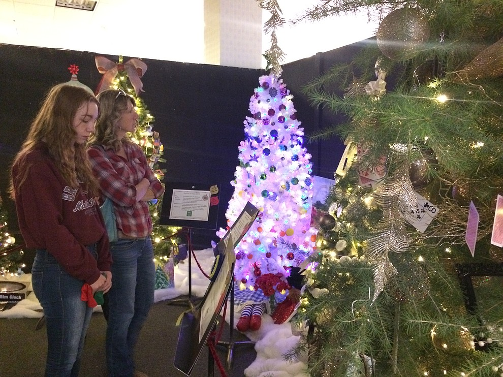 Lani and Anna Hammond take a look at some trees during the Festival of Trees at the Prescott Gateway Mall Saturday, Nov. 23. (Jason Wheeler/Courier)