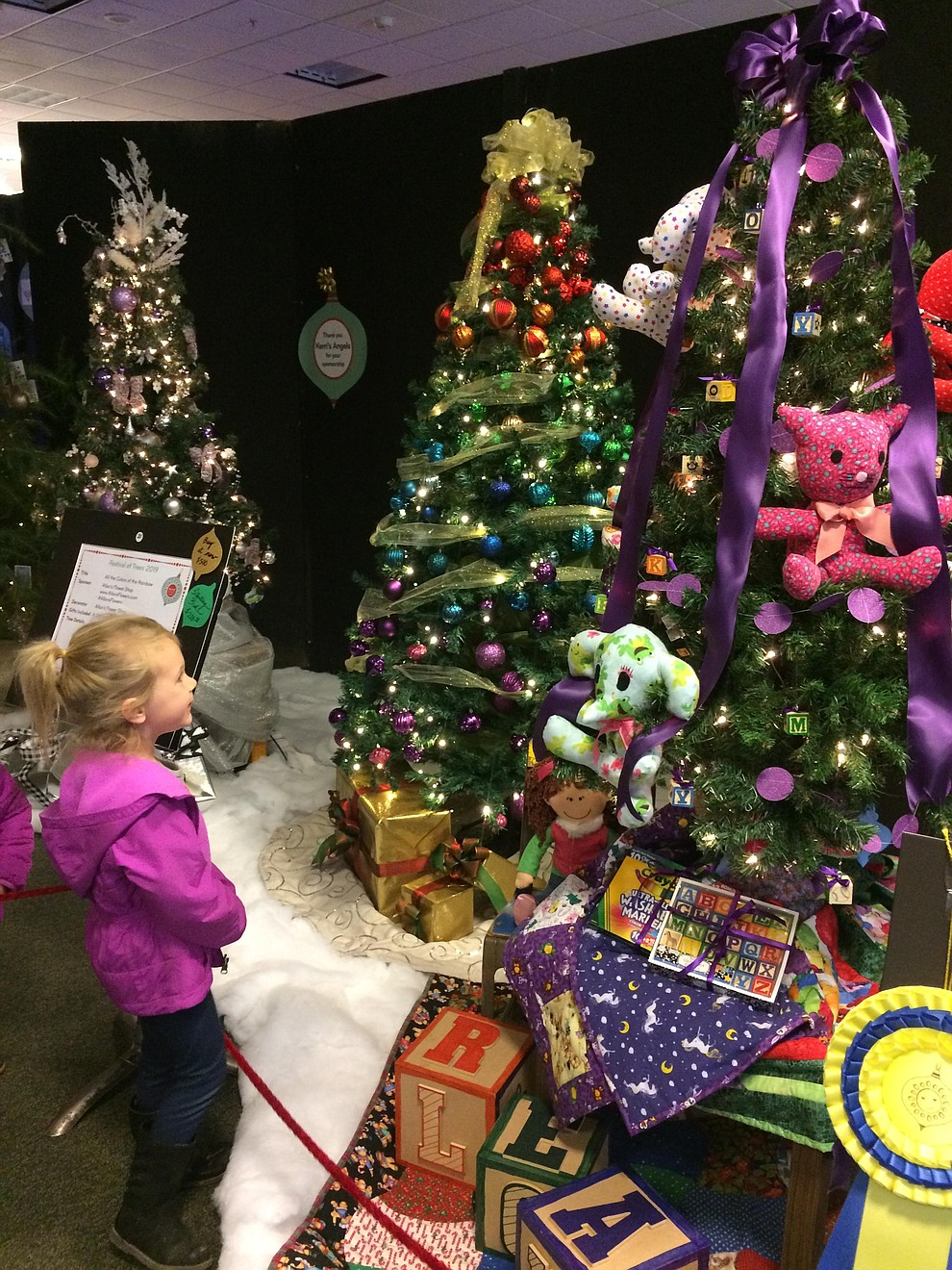 Sophia Owens looks at one of the decorated trees found at the Festival of Trees in Prescott Gateway Mall Saturday, Nov. 23. (Jason Wheeler/Courier)