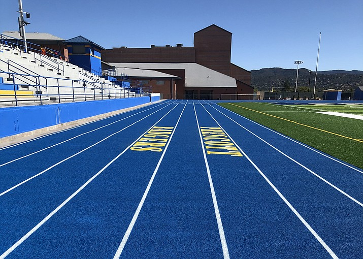 A photo of the finished track surrounding Bill Shepard Field on the campus of Prescott High School. The $2.5 million project is complete and has become a win-win for the community. (PHS/Courtesy)