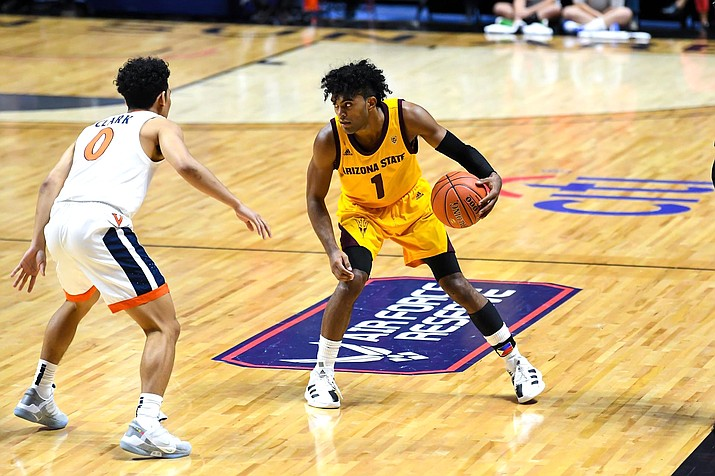 Remy Martin led the Sun Devils with 21 points on Sunday in a 48-45 loss to No. 7 Virginia in the championship of the Hall of Fame Tip-Off Tournament. (Photo courtesy of sun Devil Athletics)