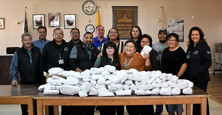 A group of Fire Rock employees prepare a meat donation for Church Rock Chapter. (Photo courtesy of Navajo Gaming Enterprise)