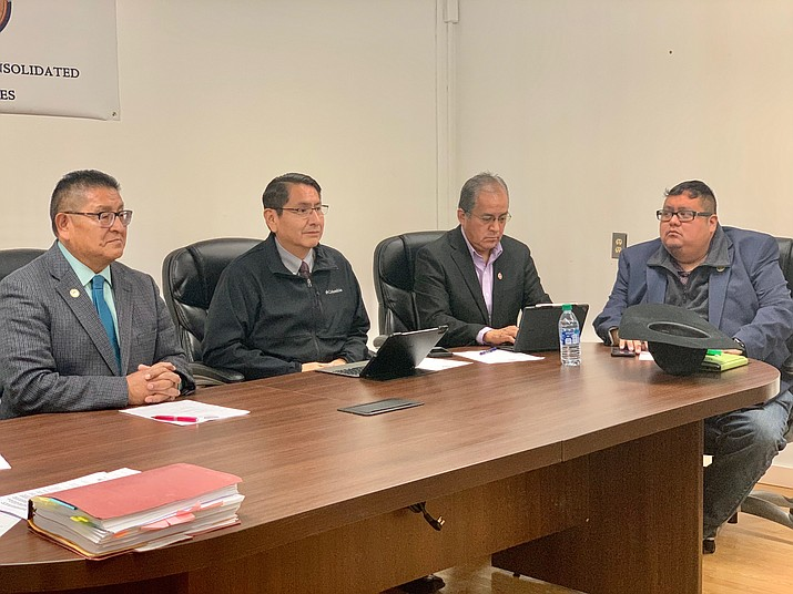 Nation President Jonathan Nez, Speaker Seth Damon and Hopi Tribal Vice Chairman Clark W. Tenakhongva met in Polacca, Arizona near Fist Mesa Nov. 20 to discuss moving forward with improvements to Hopi Route 60. (Photo courtesy of the Office of the President and Vice President)