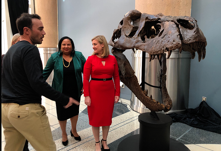 Fossil owner Aber Whitcomb, Arizona Science Center president and CEO Chevy Humphrey, center, and Phoenix Mayor Kate Gallego stand beside the skull of 66 million-year-old Victoria. (Photo by Sabine Galvis/Cronkite News)
