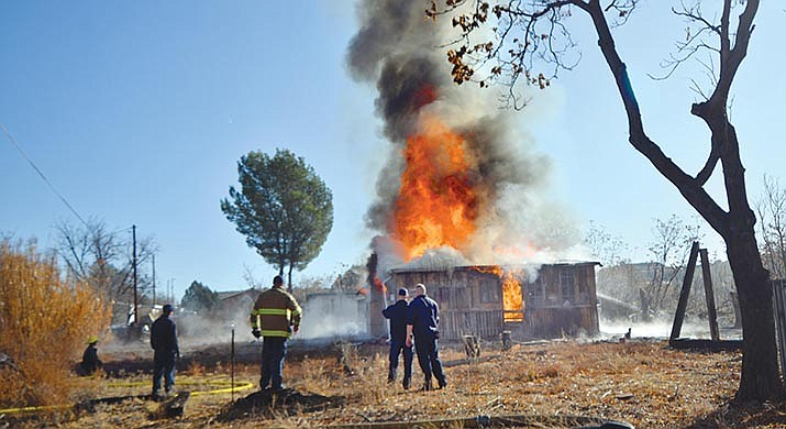 The plume of smoke coming from the Mingus Avenue Bridge in Cottonwood area on Monday morning was from a burn of a house as a training event for the Verde Valley Fire District. VVN/Vyto Starinskas