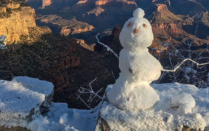 One of several snowmen built in wintery conditions at Grand Canyon National Park. (Photo/NPS)