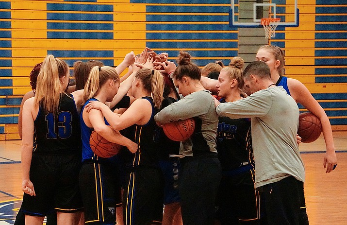 Embry-Riddle women's basketball huddles up before the team's practice on Monday, November 25, 2019, at the Embry-Riddle Activity Center in Prescott. (Aaron Valdez/Courier)