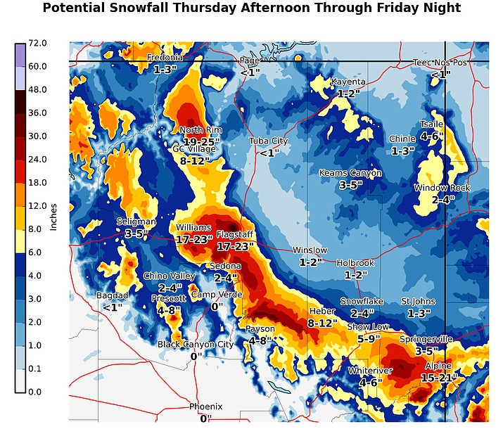 A major winter storm is forecasted for northern Arizona Nov. 28-29. (NWS graphic)
