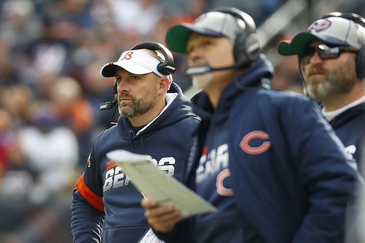Chicago Bears head coach Matt Nagy watches against the New York Giants during the first half Nov. 24, 2019, in Chicago. (Paul Sancya/AP, file)