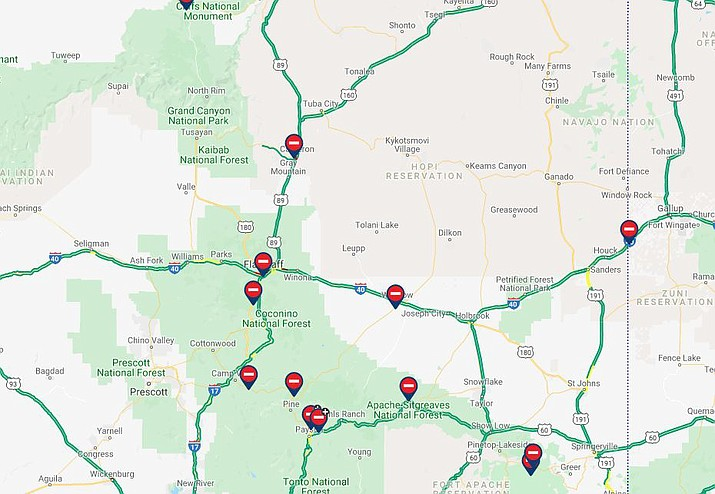 Interstate 40 and Interstate 17 reopen in northern Arizona ... on driving map of arizona, route 40 arizona, i-10 arizona, highway map of southern arizona, full map of arizona, map of south tucson arizona, freeway map of arizona, interstate 269 map, trail map of arizona, map of california and arizona, map of sun lakes arizona, old road maps arizona, fault line map of arizona, interstate 10 arizona, us road map arizona, map of interstate 40 arizona, state highway map of arizona, arizona state map of arizona, map of 202 loop arizona, interstates in arizona,