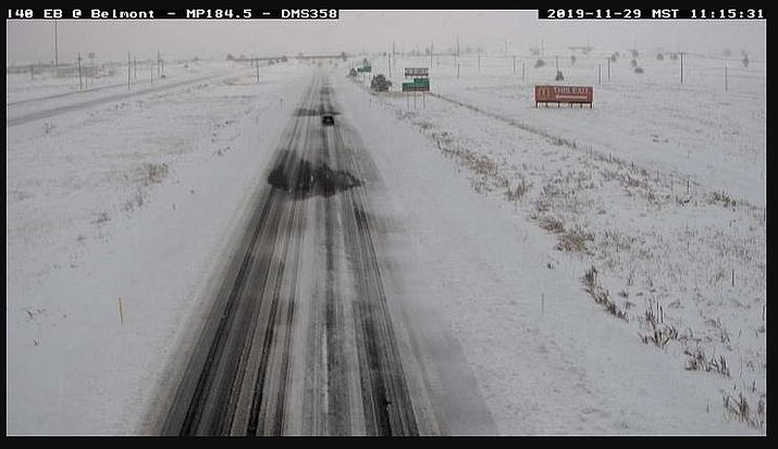 Portions of I-40 are closed including this stretch in Bellemont, Arizona. (ADOT camera)