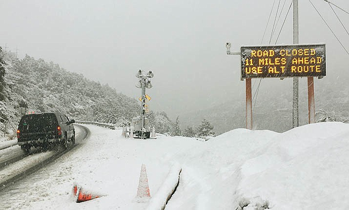 State Route 89A through Oak Creek Canyon, between Sedona and Flagstaff, is one of several roads closed Friday due to a winter storm. VVN/Vyto Starinskas