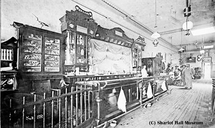 Cabinet Saloon Interior, now the southern portion of today's Palace Saloon, was damaged by a dynamite explosion in 1896. Call # 1100.2018.0301, date unknown. Diana Saloon, Prescott, Arizona.  (Sharlot Hall Museum Library & Archives/courtesy)