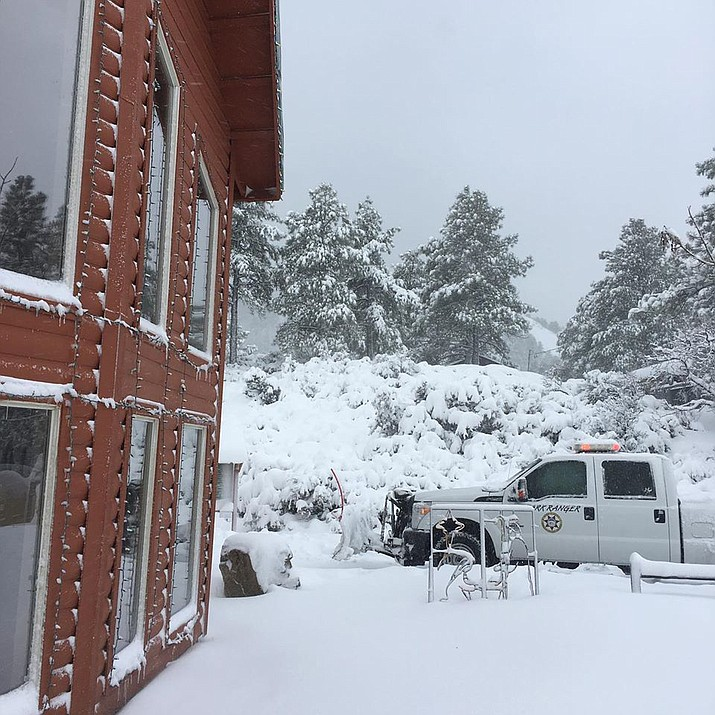 More than a foot of snow fell in the Hualapai Mountains near Kingman in recent days. County Parks has purchased a snowmaking machine to assure there's snow on the ground for the 2019 Winter Wonderland on Saturday, Dec. 14. (Mohave County Parks photo)