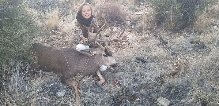 After a slow and methodical stalk Harley Larsen got her first big game animal. (Courtesy)