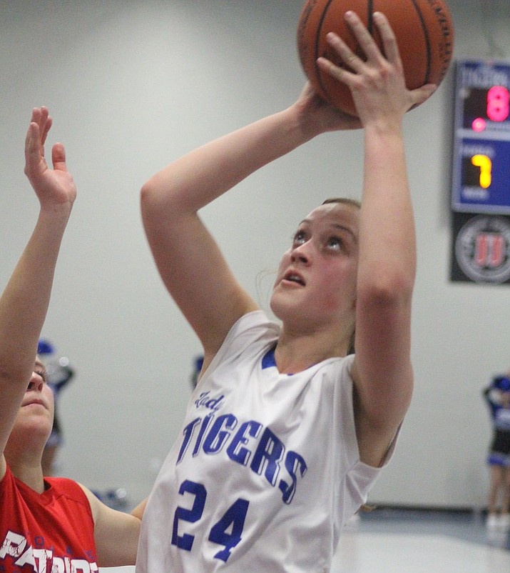 Academy sophomore Laura Allen scored six of her eight points in the fourth quarter Monday in a 40-19 win over Mohave Accelerated. (Photo by Beau Bearden/Kingman Miner)