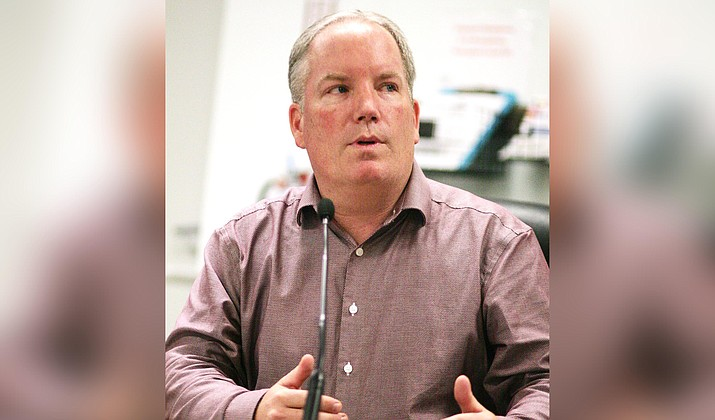 Camp Verde Town Manager Russ Martin tells council at its Nov. 20 meeting why it could afford to freeze wastewater fee increases scheduled for January 2020. Wednesday, council is expected to suspend scheduled wastewater fee increases through June 30, 2022. VVN/Bill Helm