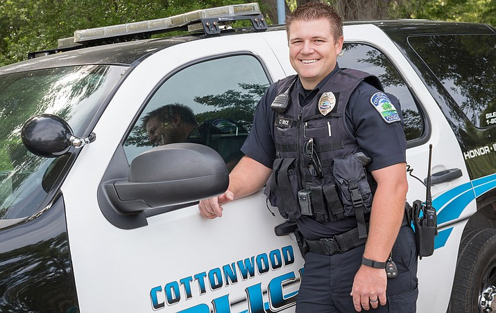 Cottonwood Officer Corby Rice believes the city's neighborhood policing program works best when there is an open line of communication between the officer and the people in the neighborhood to which he was assigned. Photo courtesy Cottonwood PD