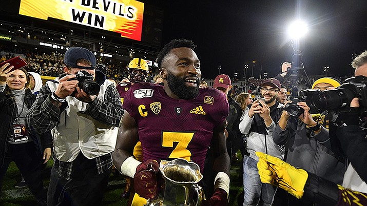 Eno Benjamin ran for 168 yards and two touchdowns, helping Arizona State grind out a 24-14 victory over rival Arizona on Saturday night. (Photo courtesy of Sun Devil Athletics)