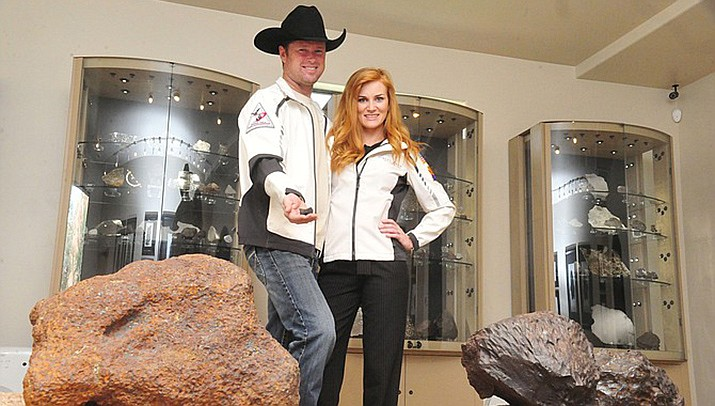 Anne Marie Ward, a 29-year-old Prescott Valley small business owner running for Congress in 2020, poses with her husband, meteor collector Robert Ward. (Daily Courier Photo)