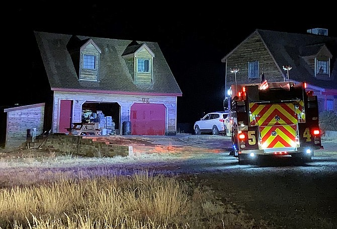 A Central Arizona Fire and Medical Authority fire engine responds to a home in Dewey where a fire was started due to a propane heater Monday, Dec. 2, 2019. (CAFMA/Courtesy)