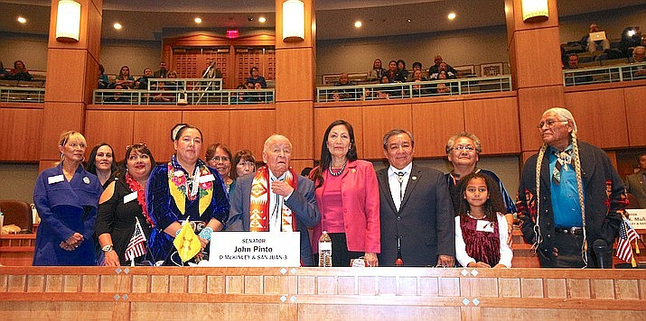 In January, Navajo Nation Council Delegate Amber Crotty joined New Mexico Senator John Pinto in honoring Cogresswoman Debra Haaland in her work to advocate for Missing and Murdered Indigenous Women. (Photo/Office of the Speaker)