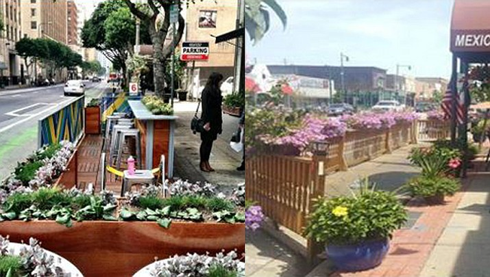 Property owners of commercial businesses that front E. Beale Street between 2nd and 6th streets are eligible to apply for the parklet/pedlet program starting Jan. 1, 2020. (Photo courtesy of the City of Kingman)