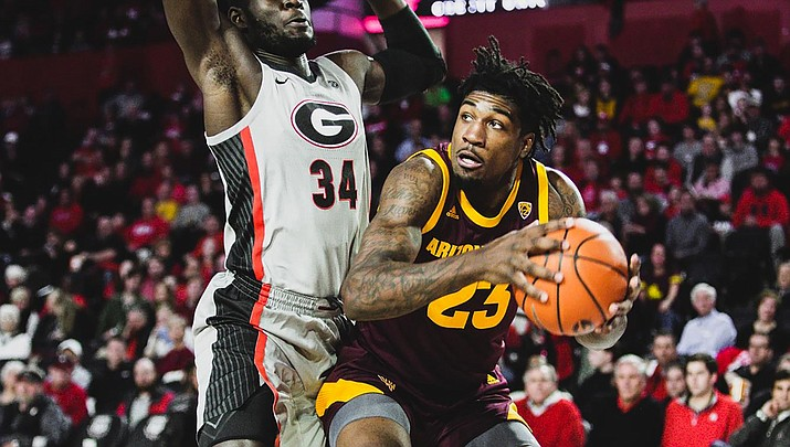 Romello White tallied his first double-double of the year Tuesday night, tying a team-high 14 points and grabbing 11 rebounds, in a 71-67 victory at San Francisco. (File photo courtesy of Daniel Kwon/Sun Devil Athletics)