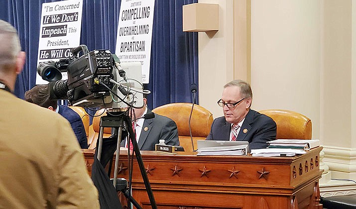Rep. Andy Biggs, R-Gilbert, right, accused witnesses called by Democrats for the Judiciary Committee hearing as having already made up their minds on the possibility of President Donald Trump's impeachment. (Photo by Wissam Melhem/Cronkite News)