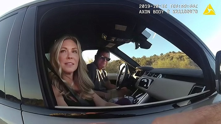 """On Oct. 12, 2019, Arizona Department of Public Safety Director Col. Frank Milstead was pulled over for speeding northeast of Camp Verde near Lake Montezuma. He was only given a warning. """"The reason why I stopped you is you guys are going about, over 90 mph, weaving through traffic, not using your guys' turn signal,"""" the deputy said on the video. (Image from video released by YCSO)"""