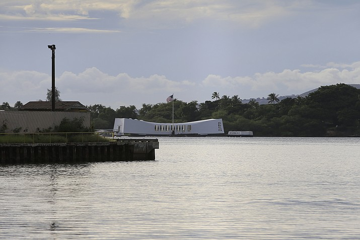 The USS Arizona Memorial can be seen from the Pearl Harbor National Memorial Wednesday, Dec. 4, 2019, in Honolulu. (Marco Garcia/AP file)
