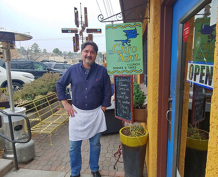 Barry Barbe has owned and operated El Gato Azul restaurant, 316 Goodwin St., in downtown Prescott for the past 15 years. Barbe (pronounced BARB) credits the restaurant's success to its ability to adapt to changing times while focusing on a traditional familial atmosphere. (Doug Cook/Courier)