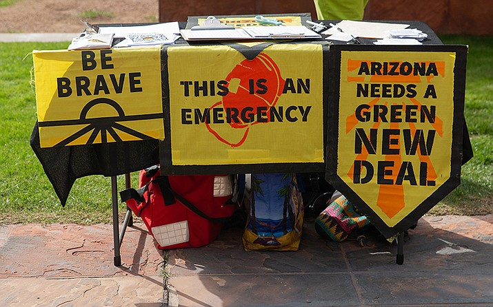 After a global climate strike in September, local group AZ Youth Climate Strike kept the momentum going by protesting outside Phoenix City Hall on Friday, Dec. 6. (Photo by Jake Eldridge/Cronkite News)