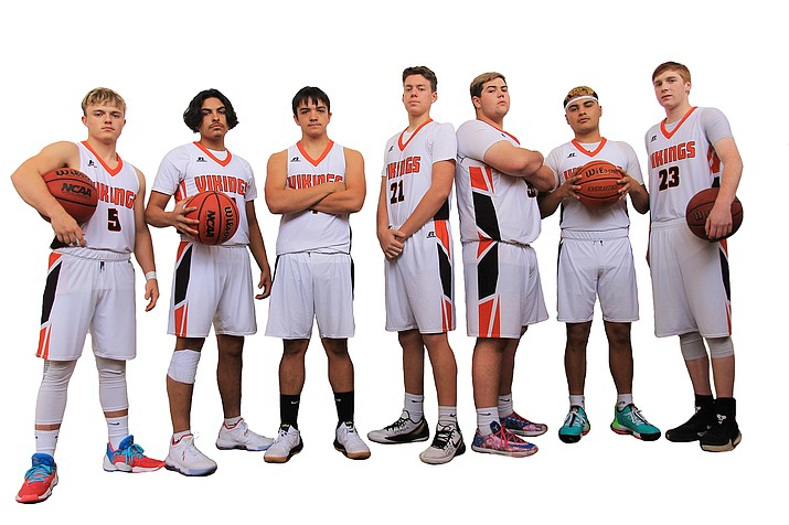 Seniors Kolby Payne, Angel Ayala, Xavier Leonet, Dawsyn Beebe, John Bryant, David Lozano, Cordell Stewart and Caleb Betz (not pictured) will lead the Vikings boys basketball team this season. (Wendy Howell/WGCN)