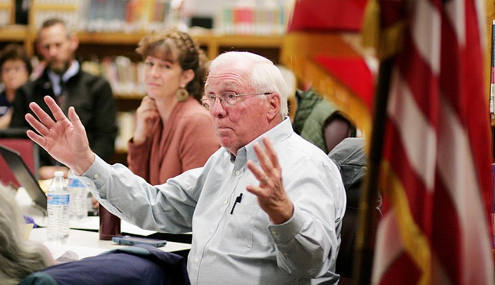 Tuesday, the Camp Verde School Board approved curriculum to teach the Bible as an elective at Camp Verde High School. Pictured, Camp Verde School Board Member Bob Simbric. VVN/Bill Helm