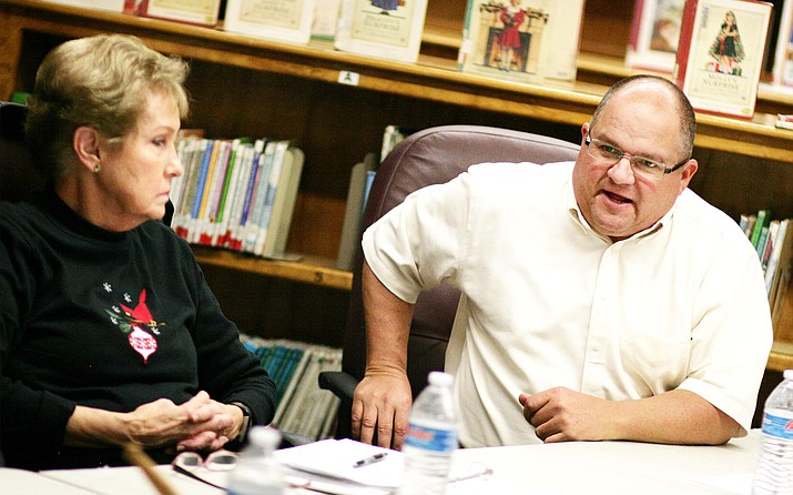 Tuesday, the Camp Verde School Board approved curriculum to teach the Bible as an elective at Camp Verde High School. Administrator-in-Charge Danny Howe, pictured with board member Carol German, said that at least 10 students are needed for Camp Verde High School to offer the elective. VVN/Bill Helm