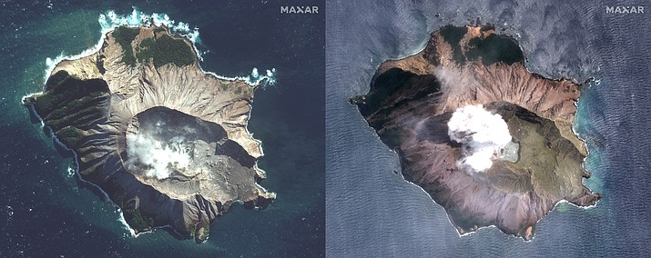 In this combo made from two satellite images taken May 12, 2019, left, and Dec. 11, 2019, right, by Maxar Technologies steam rises from the volcano on White Island off the coast of Whakatane, New Zealand. The White Island volcano vented more steam and mud Wednesday, Dec. 11, 2019, in an increase of geothermal activity that again delayed the recovery of victims' bodies from a deadly eruption two days ago. (Satellite image ©2019 Maxar Technologies via AP)