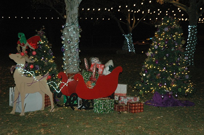 The holiday display by the Chino Valley Lioness Club, put up at the 2018 December to Remember at Memory Park event. (Jason Wheeler/Review)
