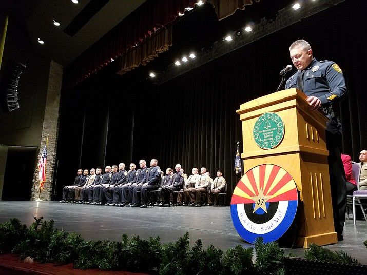 Northern Arizona Regional Training Academy Commander Jon Brambila speaks during the academy's 47th graduation ceremony at the Yavapai College Performing Arts Center in Prescott on Thursday, Dec. 12, 2019. (Max Efrein/Courier)