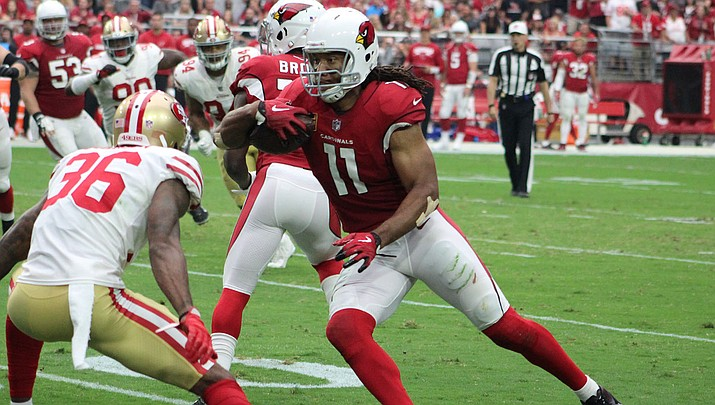 Larry Fitzgerald leads the Cardinals with 64 catches for 669 yards this season. Fitzgerald hasn't committed to playing a 17th season, but head coach Kliff Kingsbury said there's no doubt the team wants him back. (Miner file photo)