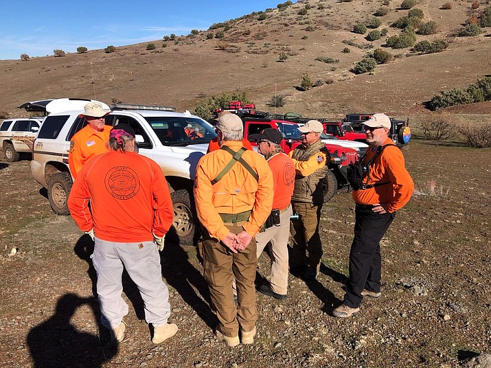 Volunteers from the Yavapai County Search and Rescue Team assist with an airplane crash near I-17 Dec. 13. (YCSO/photo)