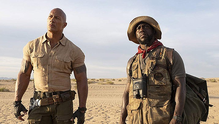 Kevin Hart and Dwayne Johnson perform in Jumanji: The Next Level