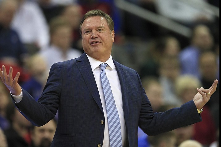 Kansas head coach Bill Self talks to his team during the first half of an NCAA college basketball game against Kansas City in Kansas City, Kan., Saturday, Dec. 14, 2019. (Orlin Wagner/AP, file)