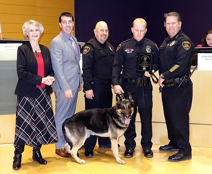 Officials from the Prescott Valley Police Department attended the retirement ceremony for K-9 Turco on Dec. 12 (PVPD/Courtesy)
