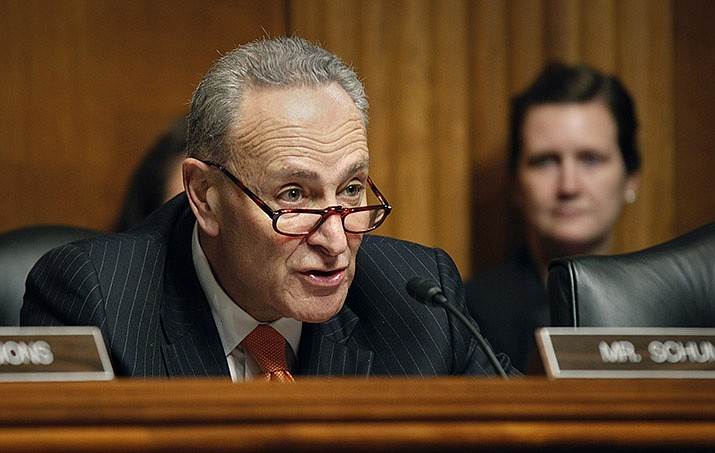 U.S. Sen. Chuck Schumer (D-New York), the Senate minority leader, left, has proposed a structure for impeachment trial of U.S. President Donald Trump. (Miner file photo)