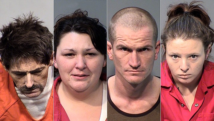 From left, Dennis Craft, Kyra Craft, Jeremiah Marrs and Misty Wentz have been arrested by Chino Valley Police Department officers after an investigation into a stolen motorcycle on Dec. 12. (Chino Valley Police Department)