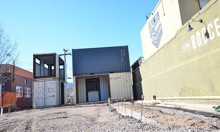 "Six cargo containers sit next to Bocce Pizzeria in Cottonwood and will become an extension of the popular pizza establishment with ""bar strata"" food. VVN/Vyto Starinskas"