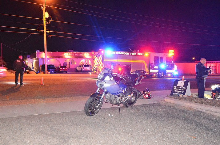 Cottonwood police at the scene of a motorcycle and pedestrian accident Friday night in Cottonwood. VVN/Vyto Starinskas