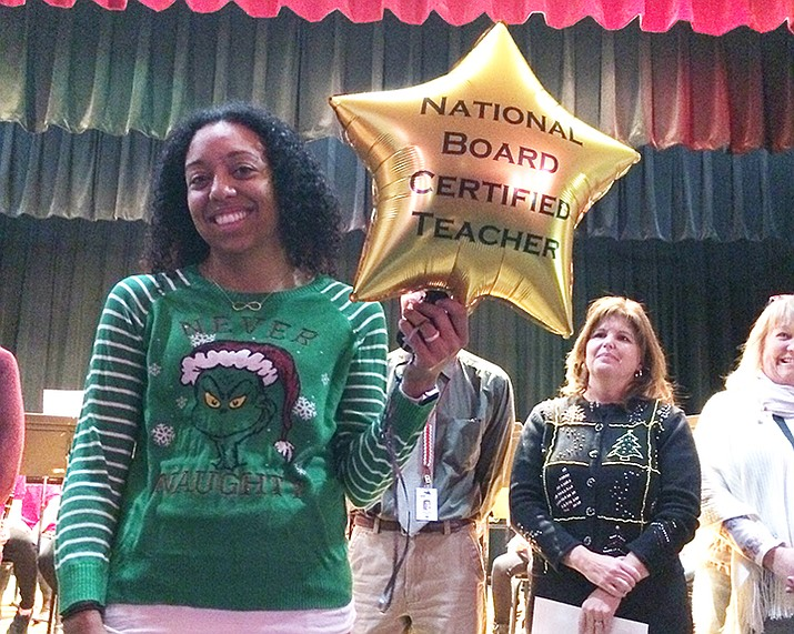 Abia Judd kindergarten teacher Rachel Chunglo is honored by the PUSD district on Tuesday, Dec. 17 for earning her national certification from the National Board for Professional Teaching Standards. (Nanci Hutson/Courier)