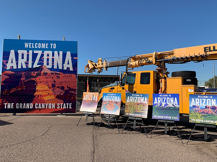 Gov. Doug Ducey unveiled six new welcome sign designs for the state's roadways Dec. 11. (Photos courtesy of the Governor's Office)