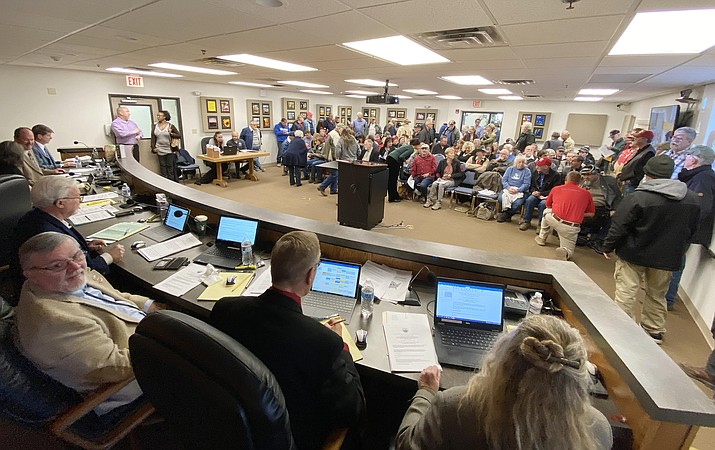 Second Amendment supporters fill the Yavapai County Administrative Services Verde Valley Complex. Wednesday, the County Supervisors listened to a pro-Second Amendment presentation, as well as passionate pleas to consider making Yavapai County a Second Amendment Sanctuary County. VVN/Bill Helm